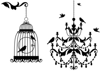 Stores à enrouleur Oiseaux en cage antique birdcage and chandelier with birds, vector