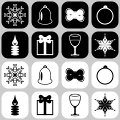 icons with new year and christmas objects