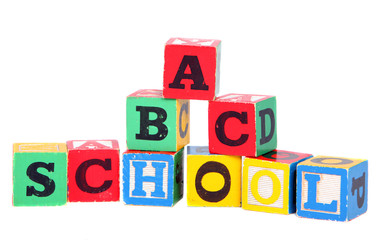 Children's building blocks on white background