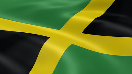 Jamaican flag in the wind