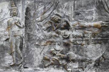 art on wall of temple, Wat Nong Sim Noi, Borabue, Mahasarakam