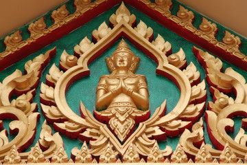 art on gable of temple, Wat Non Moang, Borabue, Mahasarakam