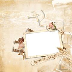 Old frame on  elegant vintage background