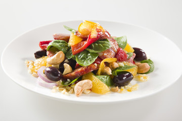 Tasty Fresh Salad with Chorizo and Nuts