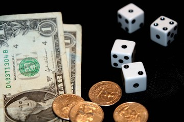 Gambling with dice, bills and change