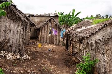 Dusty street of poor african village