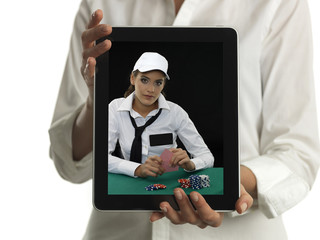 digital frame in the hands of girl
