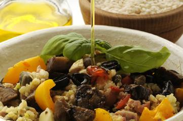 Olio d oliva su insalata di riso