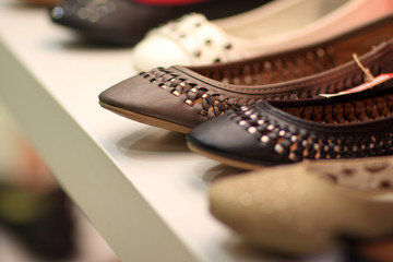 Leather shoes in store
