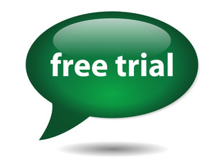 FREE TRIAL speech bubble icon (web button online specials offer)