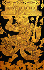 giant in traditional thai style art painting