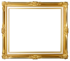 Vintage gold picture frame isolated