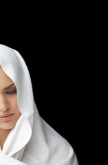 Female covered half face veil