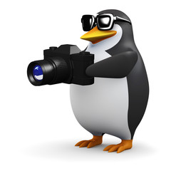 3d Penguin takes a picture