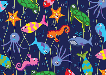 vector background of colorful sea animals