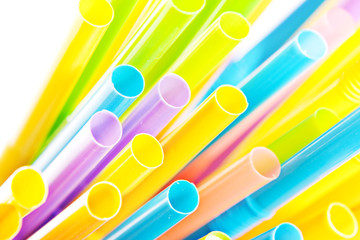 Drinking straws isolated on white background.