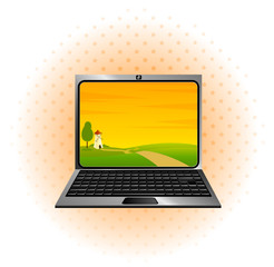 Laptop icon with Landscape