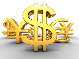Yen, dollar, euro. Signs