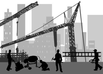Bauarbeiten in der Großstadt