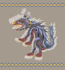 Traditional aztec coyote vector illustration for design
