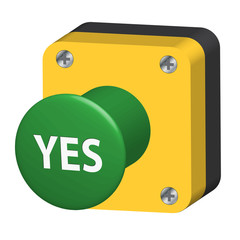 YES Pushbutton (web button ok go vote survey opinion poll no 3D)