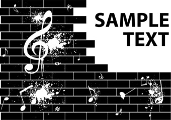 Illustration of a  graffiti with music notes on a brick wall