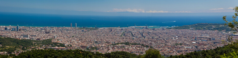 panorama view of Barcelona from the Tibidabo hill