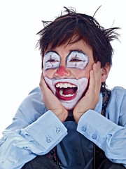 happy child clown laughing out loud