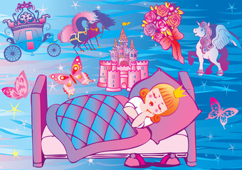 Poster Chateau Dream Princess. Fairy-tale.