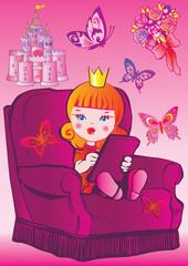 Princess sits on a chair. Fairy-tale.