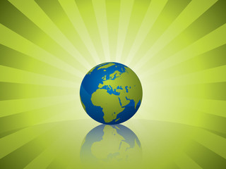 Earth on green light rayed background