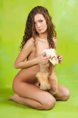nude  girl  with fox fur