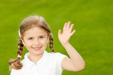 Happy little girl outdoor portrait