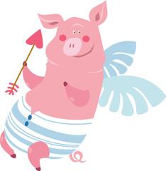 piglet with an arrow