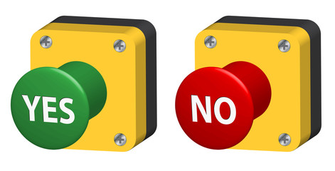 YES & NO Pushbuttons (web buttons vote survey opinion poll 3D)