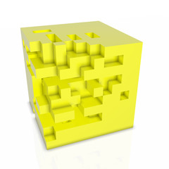 3D abstarct background - cubes isolated on white