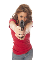 beautiful woman with a gun
