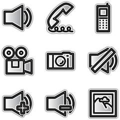 Vector web silver icons media