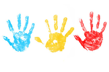 colorful child hand printed