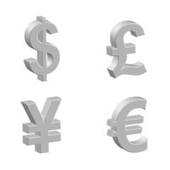 3D Currency Symbols (Money Dollar Yen Pound Euro Silver Icons)