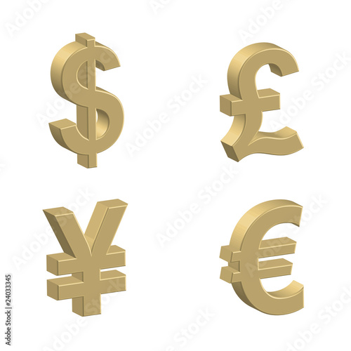 3d Currency Symbols Money Dollar Euro Pound Yen Golden Stock