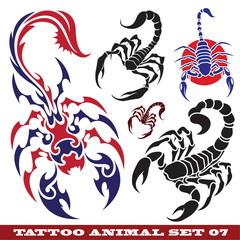 templates scorpion for tattoo and design on different topics
