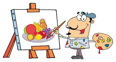 Artist Painter Paint On A Canvas Fruits