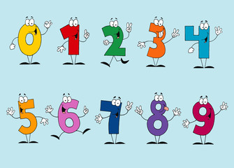 Funny Cartoon Numbers Set