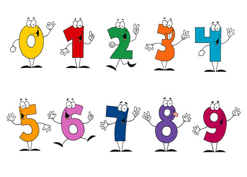 Friendly Cartoon Numbers Set
