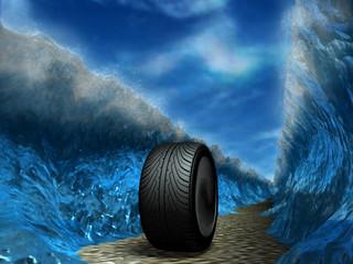 The sports wheel slides through the sea.