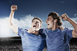 Soccer players cheering