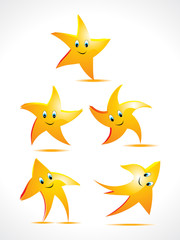 abstract stars with smiley set
