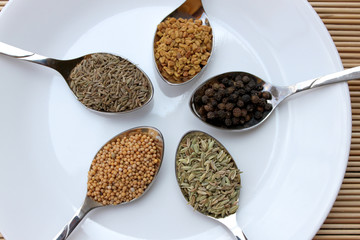 assortment of dry spices, seeds