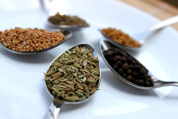 dry spices fennel close up view